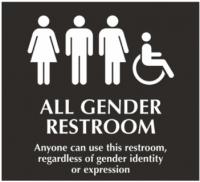 Wesleyan All Gender Bathroom Sign