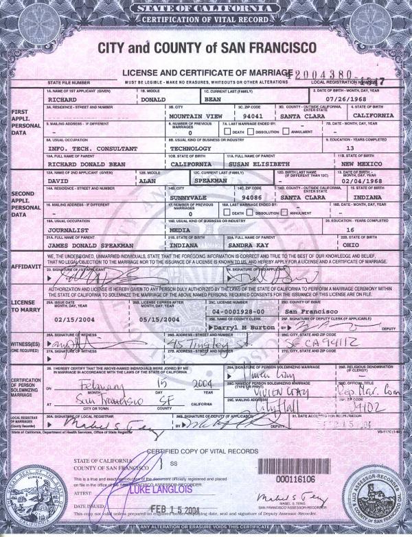 california removes gender specific wedding license language glbt news