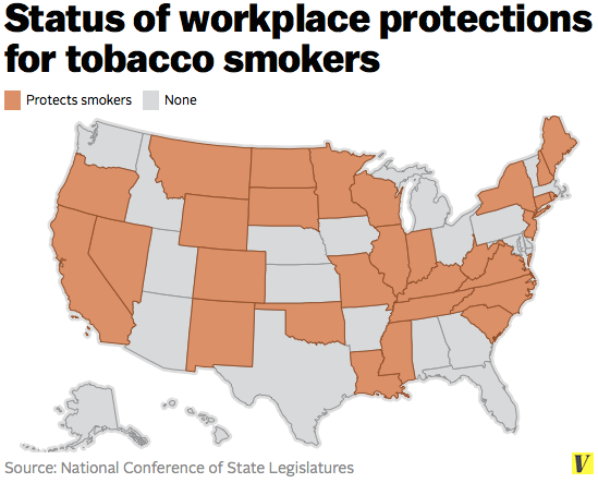 Via Vox: http://www.vox.com/2014/7/14/5892641/LGBT-medical-marijuana-cigarettes-workplace-protections-ENDA