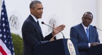 US President Barack Obama (L) and his Kenyan counterpart Uhuru Kenyatta give a joint press conference afteir their talks at the State House in Nairobi on July 25, 2015. In a joint press conference after talks with Kenyan President Uhuru Kenyatta, Obama pushed a tough message on Kenyan corruption, the civil war in South Sudan, controversial elections in Burundi and the fight against Somalia's Al-Qaeda-affiliated Shebab militants.  AFP PHOTO / SAUL LOEB        (Photo credit should read SAUL LOEB/AFP/Getty Images)