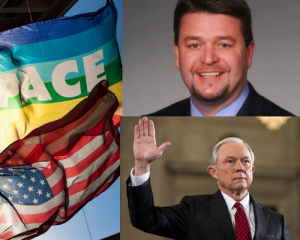 three images. 1. american flag and rainbow flag waving in breeze, 2. man smiling, wearing suit, 3. main with gray hair raising right hand