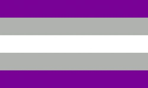 flag with five horizontal stripes: purple, gray, white, gray, purple