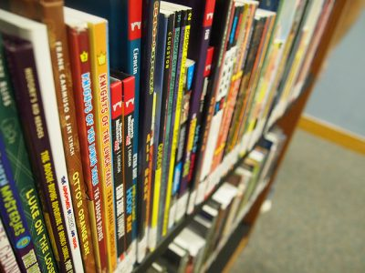 bookshelf of graphic novels of many colors and sizes